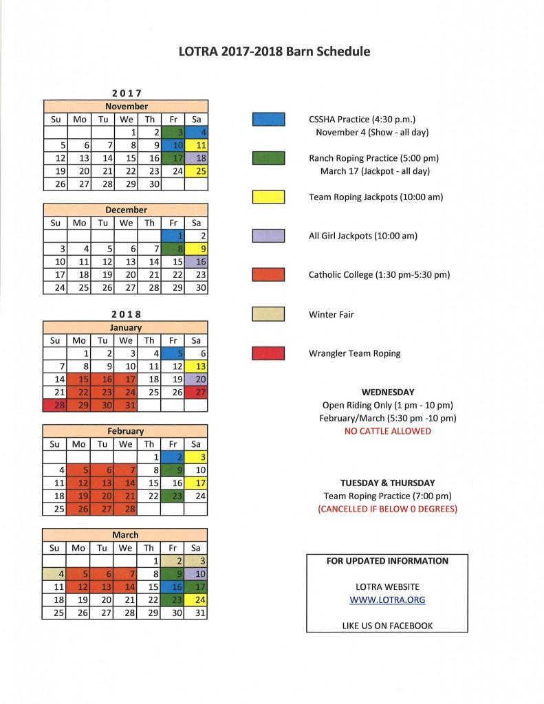 LOTRA 17-18 Barn Calendar